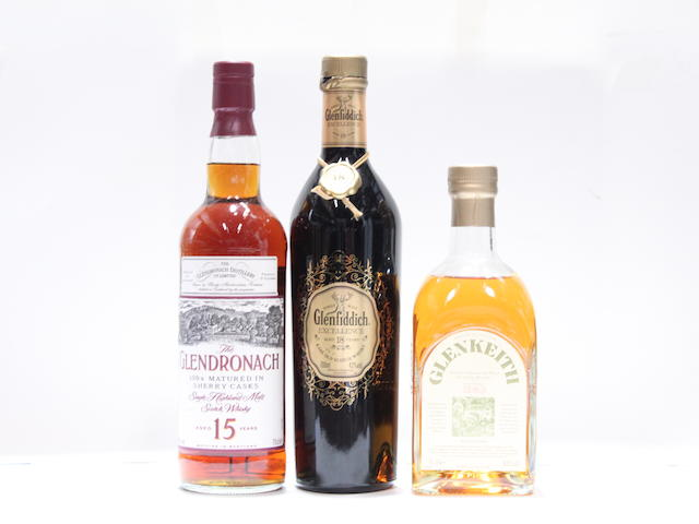 Glen Keith-Pre 1983Glendronach-15 year oldGlenfiddich Excellence-18 year old