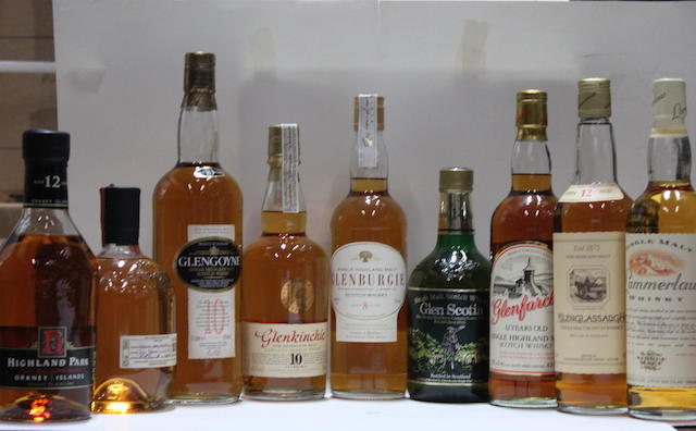 Glen Scotia-14 year old  Glenburgie-8 year old  Glenfarclas-12 year old  Glenglassaugh-12 year old  Glengoyne-10 year old  Glenkinchie-10 year old  Glenrothes-1979  Glenturret-12 year old  Highland Park-12 year old  Lammerlaw-10 year old
