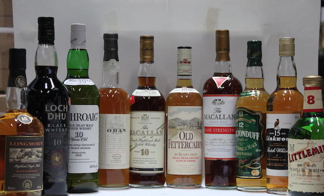 Laphroaig-10 year old  Linkwood-15 year old  Littlemill-8 year old  Longmorn-15 year old  Macallan-10 year old  Macallan  Loch Dhu-10 year old  Miltonduff-12 year old  Oban-14 year old  Old Fettercairn-10 year old
