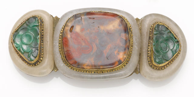 A gilt metal belt buckle with jade and agate mounts 19th century