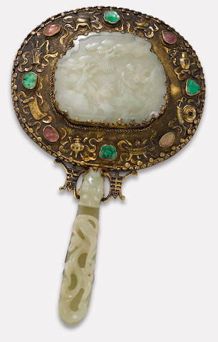 A nephrite mounted silver hand mirror Late Qing/Republic period