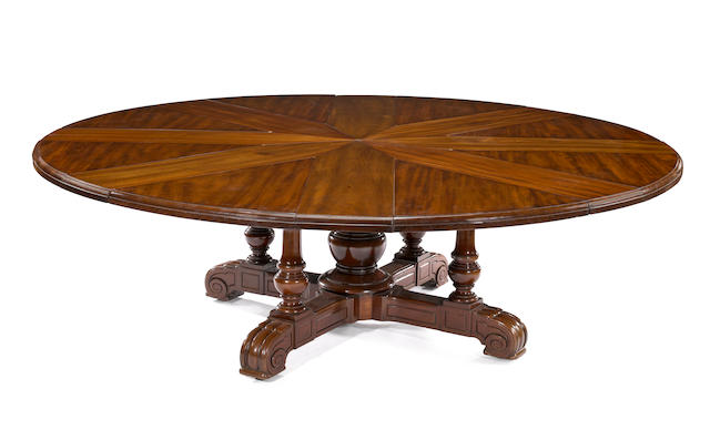 A William IV mahogany circular extension dining table<BR />Johnson & Jeanes, circa 1830