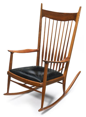 Sam Maloof (American, 1916-2009) Spindle-back rocking chair with leather seat, circa 1965
