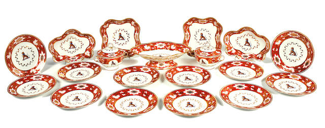 A Graingers/Chamberlains Worcester porcelain crested part dessert service mid-19th century