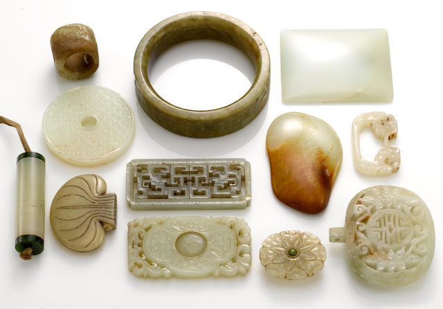 A group of twelve jade and hardstone decorations Qing dynasty and later