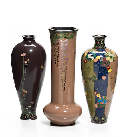 Three cloisonne enamel vases By the workshop of Namikawa Yasuyuki (1845-1927), late 19th century