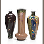 A group of three possibly Namikawa Japanese cloisonne enameled metal vases