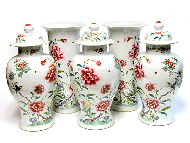 A five-piece famille rose enameled porcelain garniture set 20th century