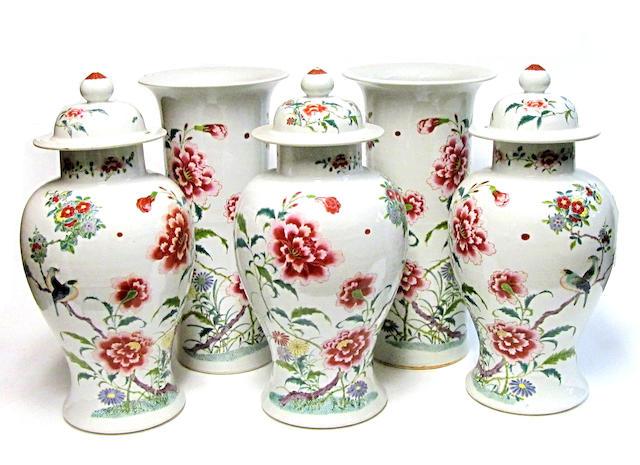 A five-piece famille rose enameled porcelain garniture set 20th century