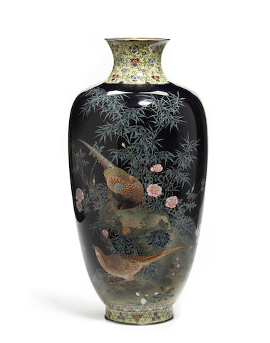 ON INSPECTION***A Japanese cloisonne vase, signed
