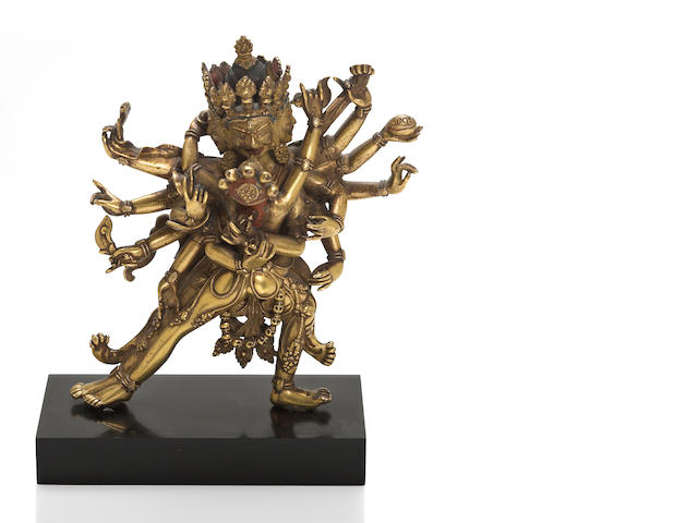 A Tibeto-Chinese gilt copper allow figure of Cakra Samvara 16th/17 century