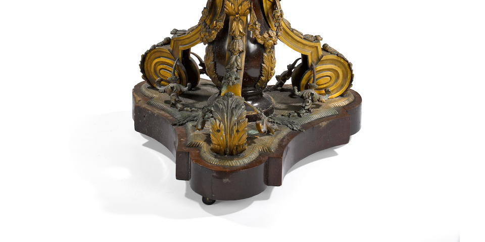 A Napoleon III porcelain mounted gilt bronze and mahogany table de milieu   third quarter 19th century