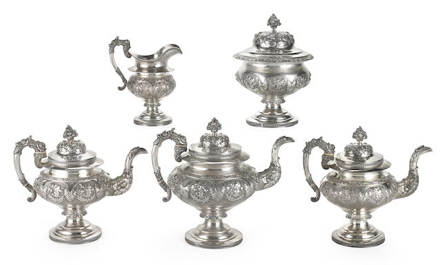 An American Classical coin silver five piece tea service Robert Dunlevy, Philadelpia, Circa 1830
