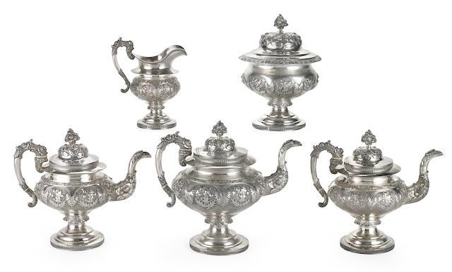 An American Classical coin silver five piece tea service Robert Dunlevy, Philadelpia, Circa 1830