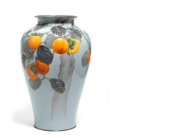 A moriage cloisonne vase with persimmon decoration by Ando Company with letter