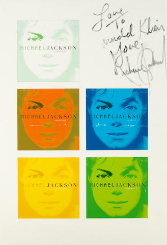Michael Jackson inscribed and signed Invincible poster