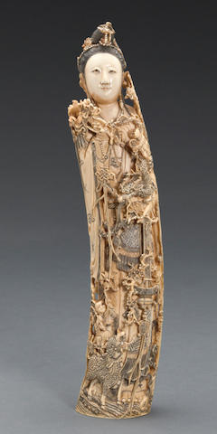 A carved and tinted ivory carving of a female immortal Republic period