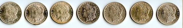 1886-O $1; 1887-O $1; 1888-O $1; 1891-O $1; 1898-O $1; 1900-O $1 (2)