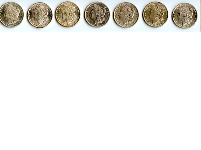 1886-O $1, 1887-O $1, 1888-O $1, 1891-O $1, 1898-O $1, 1900-O $1 (2)