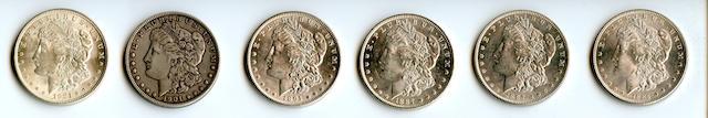 1884 $1, 1887 $1 (2), 1891 $1, 1901 $1, 1921 Morgan $1