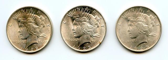 1922 $1; 1923 $1; 1925 $1