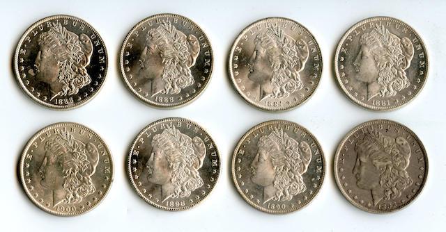 1881-O $1, 1884-O $1, 1888-O $1 (3), 1890-O $1, 1898-O $1, 1900-O $1
