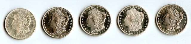 1888 $1; 1890 $1; 1896 $1; 1900 $1; 1921 Morgan $1