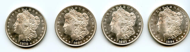 1878 8TF $1, 1880 $1, 1881 $1, 1884 $1