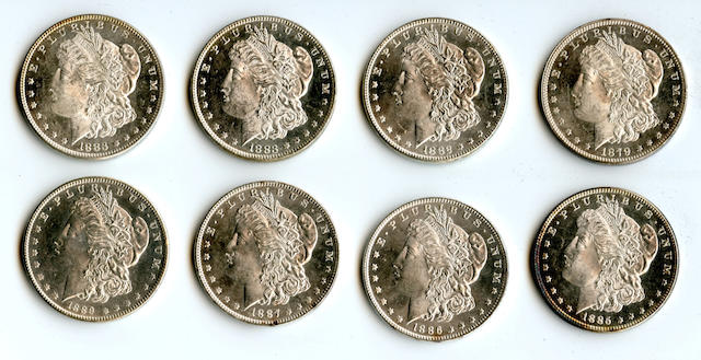 1879 $1, 1882 $1, 1883 $1 (2), 1885 $1, 1886 $1, 1887 $1, 1889 $1