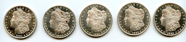 1881-O $1, 1883-O $1, 1884-O $1, 1885-O $1 (2)