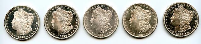 1878-S $1, 1879-S $1 (2), 1880-S $1, 1881-S $1