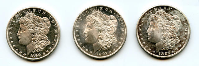 1890-S $1, 1891-S $1, 1897-S $1