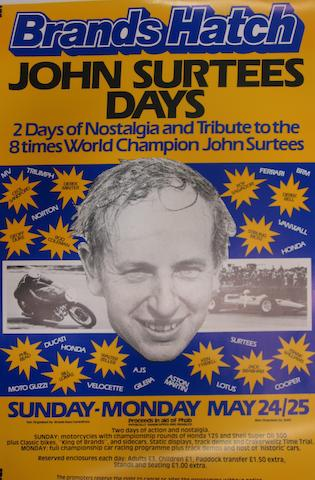 A Brands Hatch 'John Surtees Days' poster,