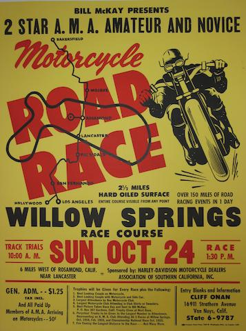 A Motorcycle Road Race at Willow Springs poster, Sun Oct 24, 1955,