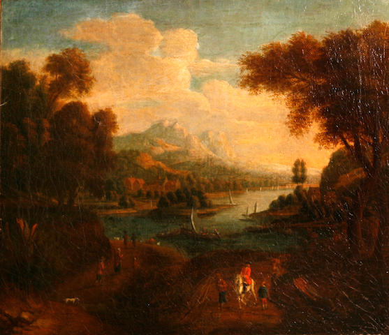 Willaim Van Remmell An extensive river landscape with figures in the foreground 14 x 16in