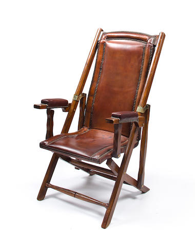 A Mahogany And Leather Campaign Chair, Folding Leather Campaign Chair