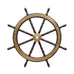 A bronze bound ship's wheel for the yacht Roamer<BR /> 35-1/2 in. diameter