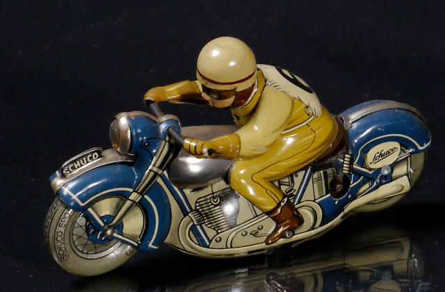 A Schuco Moto-Drill 1006 tin motorcycle racer toy,