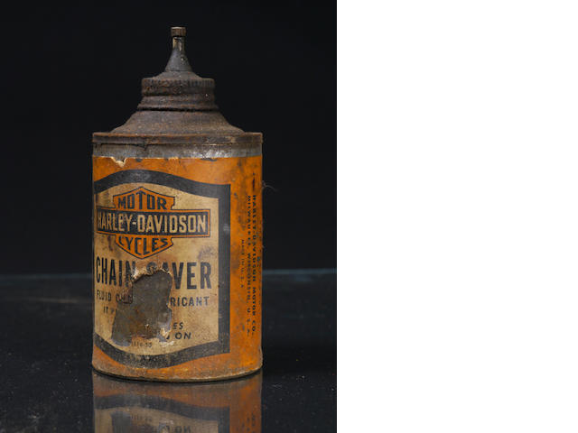 A can of Harley Davidson chain oil,