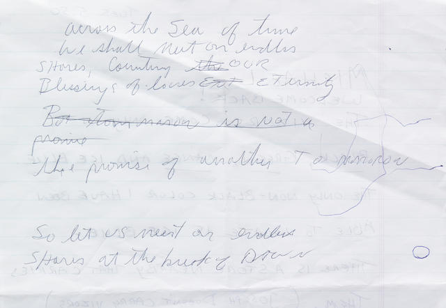 8 ½ lines written by Michael Jackson, apparently lyrics for an unfinished song