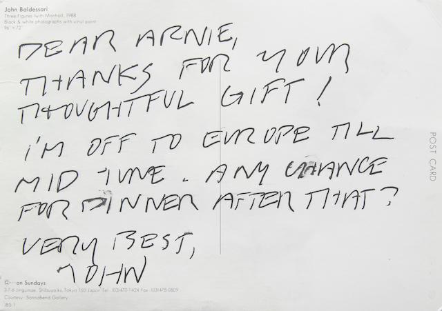John Baldessari autograph post card signed