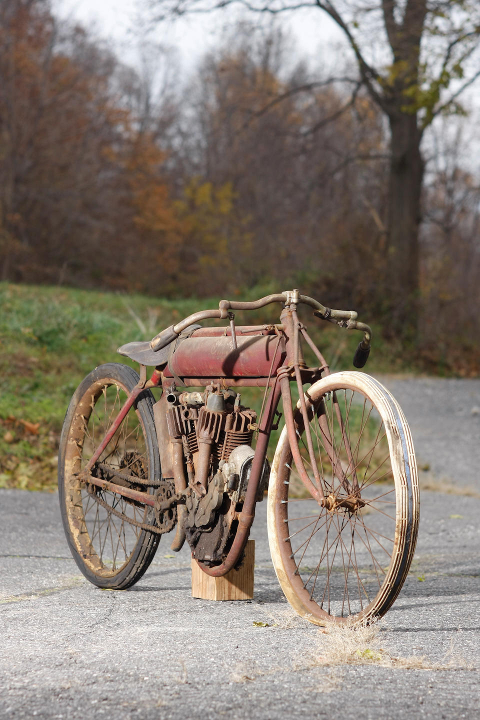 From the first year of 61ci Big Twin's production, in unrestored and original condition,1915 Indian 61ci Board-Track Racing Motorcycle Engine no. 74G762