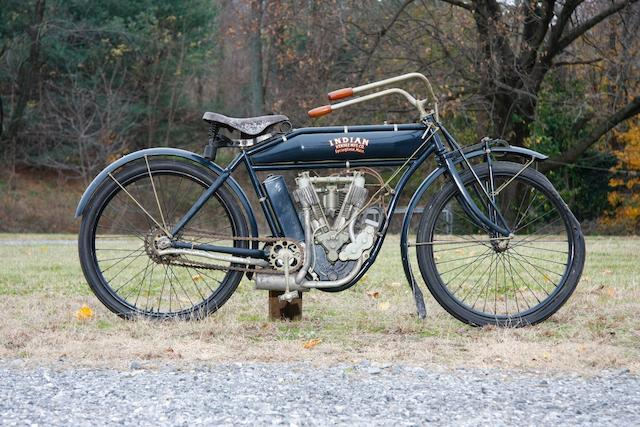 Factory equipped with the two-speed transmission and optional magneto ignition,1909 Indian  5hp Twin Engine no. 20A825