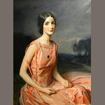 Thaddeus Styka, Portrait of a young lady in pink, signed 'Tada Styka' (lower left) O/C (original) 42X30 in