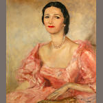 Pal Fried (Hungarian/American, 1893-1976) Portrait of a lady in pink 28 x 24in
