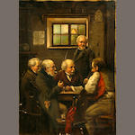 Continental School, 19th Century A friendly debate 17 3/4 x 13in unframed
