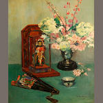 French School, 20th Century A still life with flowers and objets d'art 25 3/4 x 21 1/4in
