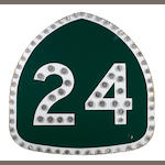 A California, Highway 24, porcelain reflector sign, 1965,