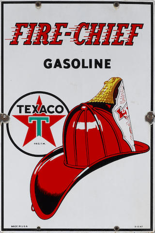 A Texaco Fire chief pump plate, 1940,