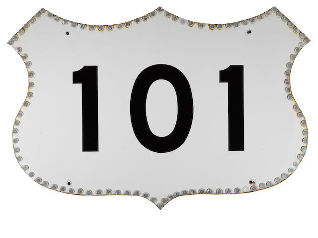 A California, U.S. Highway 101, porcelain reflector sign, 1965,